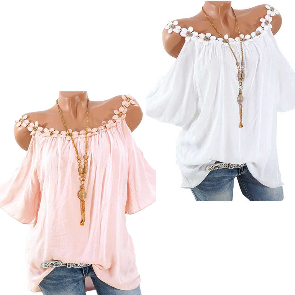 Womens Casual Floral lacework Shirt Flowy Swing blouse O-neck pure color off-the-shoulder Loose Tops plus size