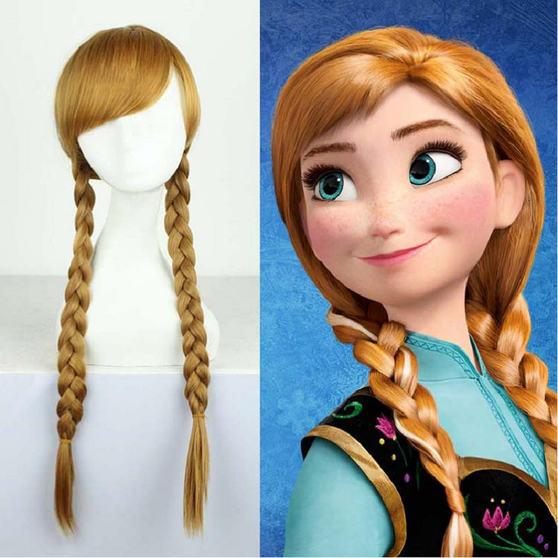 Froze Cosplay Wigs Elsa Anna Wig Princess Snow Queen Costume Brown Long Hair Gold Party Gifts Brown Adult Carnival Accessories