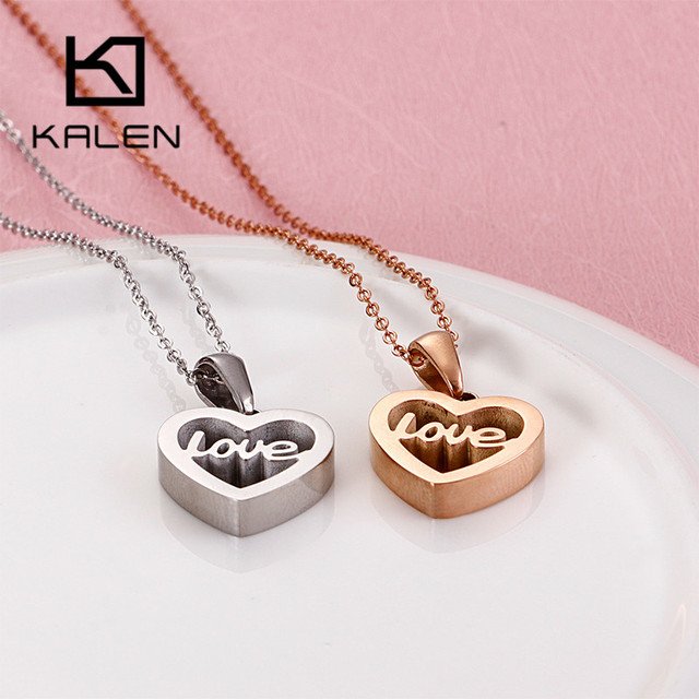 KALEN Romantic Alphabet Love Hollow Heart Pendant Necklaces For Women Tri-Color Stainless Steel MINI Cute Chain Necklace Jewelry