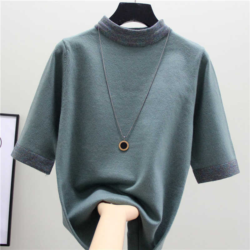 2020 Musim Panas Atasan Katun Ukuran Dasar Wanita Kaos Turtleneck Kaos Wanita Rajutan Lengan Pendek Disambung Pullover T Shirt