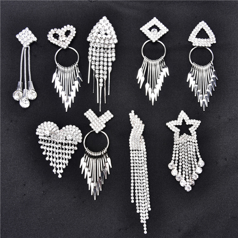 15set Tassel Flower Crystal Pin Button Rhinestone Chain Setting Silver Back Fancy Stone Rhinestone Applique Buttons For Bag Shoe