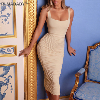 Sexy Women Pleated Long Dress Solid Square Collar Bodycon Dress Backless Ruched Summer Dress Spaghetti Strap Club Party Dress chic spaghetti strap backless bodycon solid color dress for women