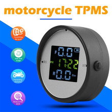 Wireless LCD Motorcycle Tire Pressure Monitoring System TPMS External Sensor Realtime Monitor Time Display