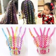 6 Pcs/Lot Rainbow Color Headband Cute Girls Hairband Crystal Long Elastic Hair Bands Headwear Bang Accessories