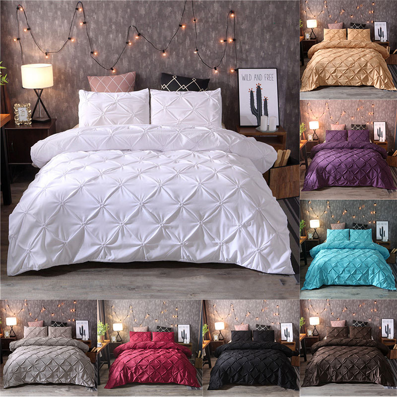 Grey Black Duvet Cover Bedding Set Solid Bed Covers Pinch Pleat Art Work Single Queen King Size 3 Pcs With Pillowcase