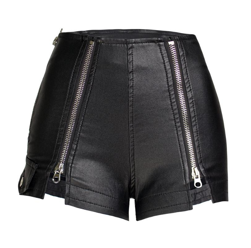 Womens Zipper Stitch Pu Leather Shorts High Waist Stretchy Velvet Autumn Winter Boot Short Female Imitation Leather Shorts S83