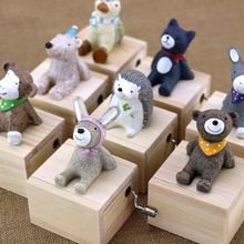 2019 latest cute little animal music box right game Christmas birthday gift wooden
