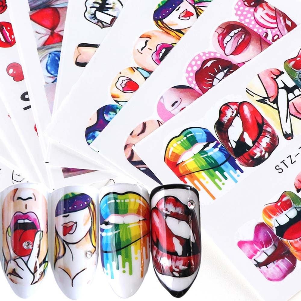 1pcs Nail Stickers Sexy Lips Cool Girl Water Decals Wraps Cartoon Sliders For Nail Decoration Manicure Colorful Tip Aliexpress