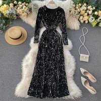 NiceMix 2020 primavera otoño nueva moda mujeres Bling vestido fiesta noche lentejuelas cuello en V Delgado A-Line Retro Vintage Vestidos Mujer