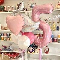 ホワイトスワンフラミンゴピンクバルーン,40インチ,1〜7個,子供用,出生前パーティー,誕生日,夜の装飾用