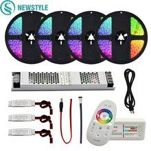 RGB/RGBW/RGBWW водонепроницаемый/не водонепроницаемый набор светодиодных лент SMD 5050 DC12V Светодиодный светильник+ 2,4G RF пульт дистанционного управления+ Тонкий комплект адаптера питания