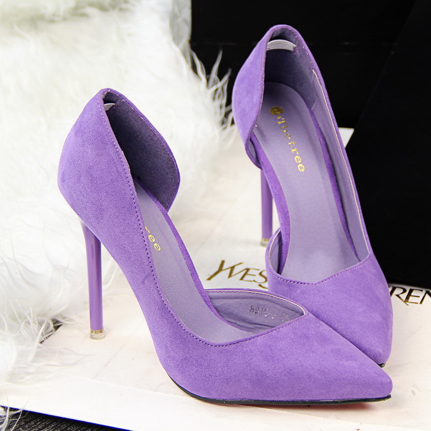 2019 Fashion Women Shoes Suede Pointed Toe Pumps OL Office Ladies Shoes High Heels Stiletto Candy Color Party Women Shoes