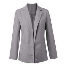 Women Solid Color Casual Bazer Suit Office Work Long Sleeve Slim Coat  IK88