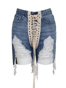 TWOTWINSTYLE Streetwear Shorts Tassel High-Waist-Hole Summer Fashion Denim Female New