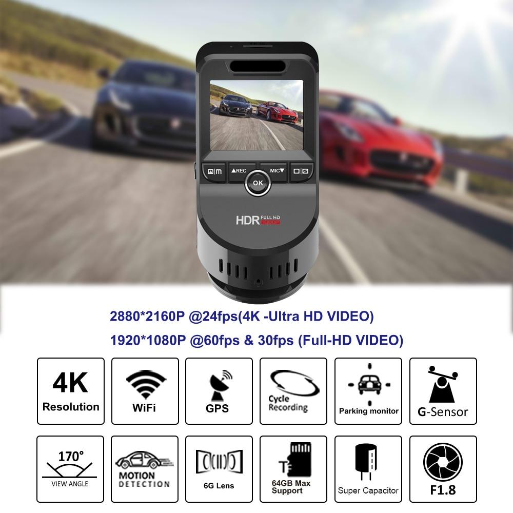 Bluavido 4K 2160P Dash cam with 1080P Rear Camera GPS logger ADAS IMAX323 sensor car Video Recorder Novatek96663 Nightvision DVR - 2