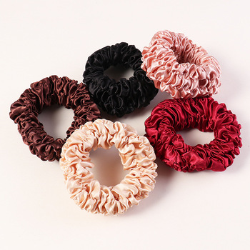 New French Elegant Satin Pleated Fabric Scrunchie Women Girls Elastic Hair Rubber Bands Accessories Tie Rope Ring Headdress