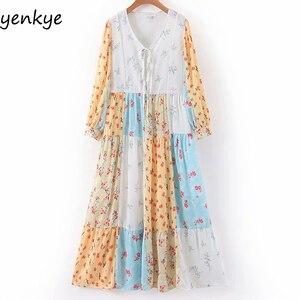 Лоскутное милое длинное платье с цветочным принтом элегантное женское повседневное Плиссированное летнее платье больших размеров с v-обра...
