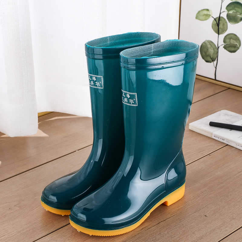 Damskie kalosze w połowie łydki damskie wodoodporne gumowe buty do kolan buty outdoorowe damskie zimowe futro ciepłe wysokiej jakości kalosze s