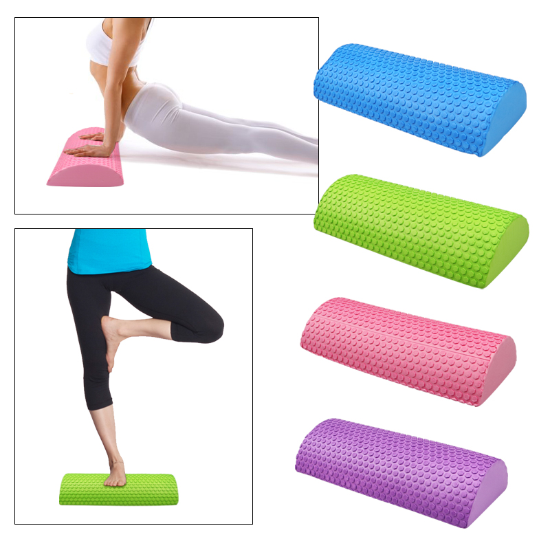 30cm/45cm Half Round EVA Massage Foam Roller Yoga Pilates Fitness Equipment Balance Pad Yoga Blocks With Massage Floating Point