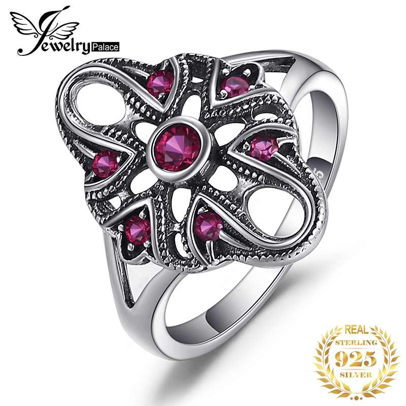 JewelryPalace Vintage Exaggerated 0.3ct Created Ruby Ring 925 Sterling Silver Fine Jewelry New Gift  For Women Finger Ring