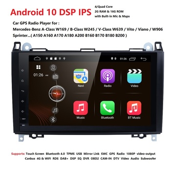 9Inch Android10.0 Car NO DVD Radio for Mercedes/Benz/Sprinter/B200/W245/B170/W209/W169 VW Crafter with BT 4GWifi GPS Radio 2GRAM