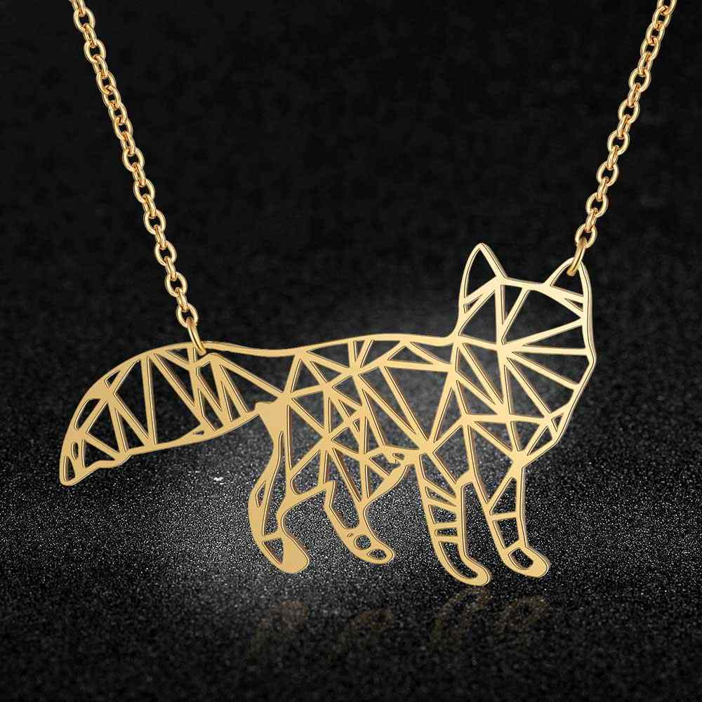 100% Real Stainless Steel 40cm Large Fox Long Necklace Unique Animal Jewelry Necklace Italy Design Super Quality