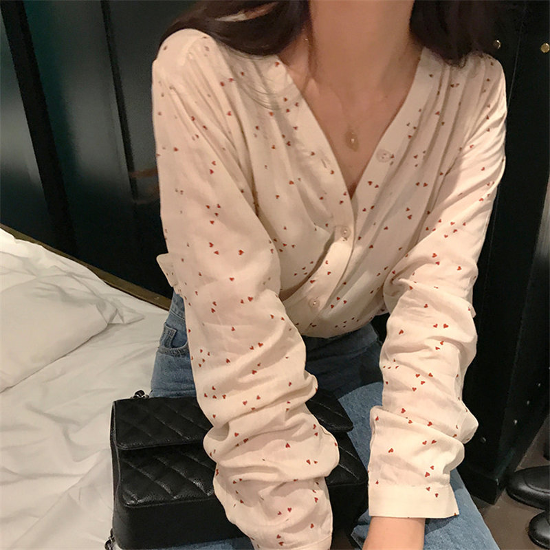 HziriP Vintage Sweet Casual Summer Apricot Fashion V-Neck Print Hearts Women Blouses Feminine High Street Loose Free Shirts