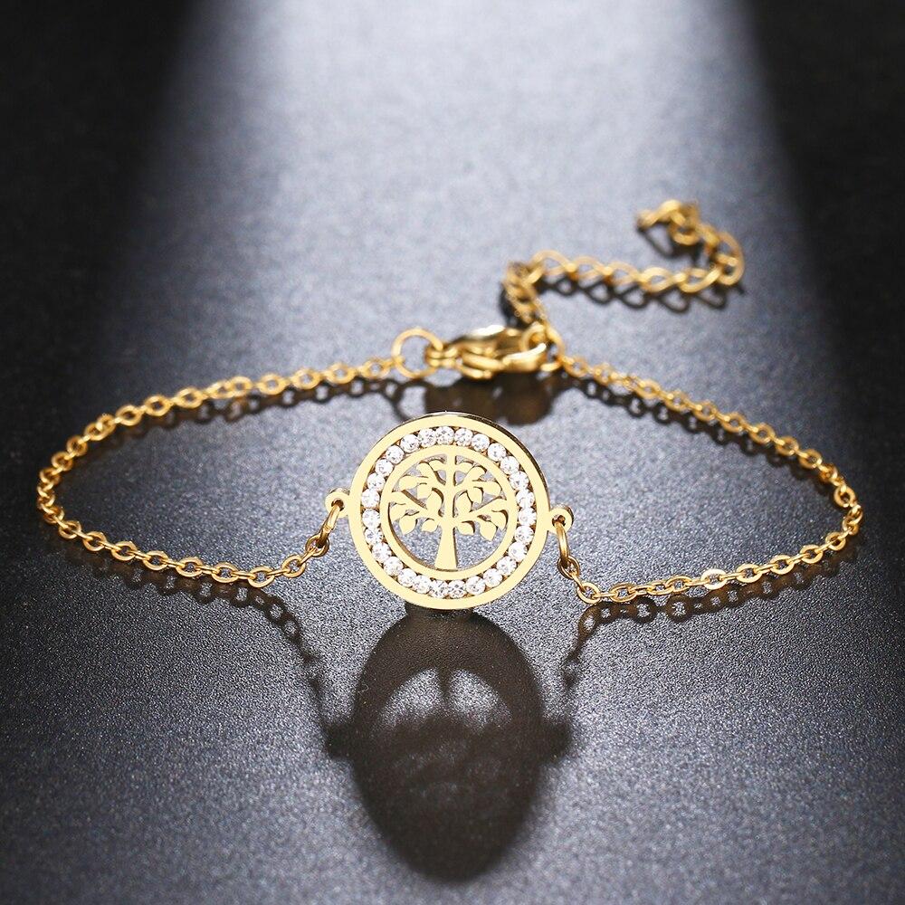 Женский браслет с кристаллами CACANA 316L из нержавеющей стали, круглые браслеты с натуральным деревом золотого цвета, подарки на помолвку, ювел...