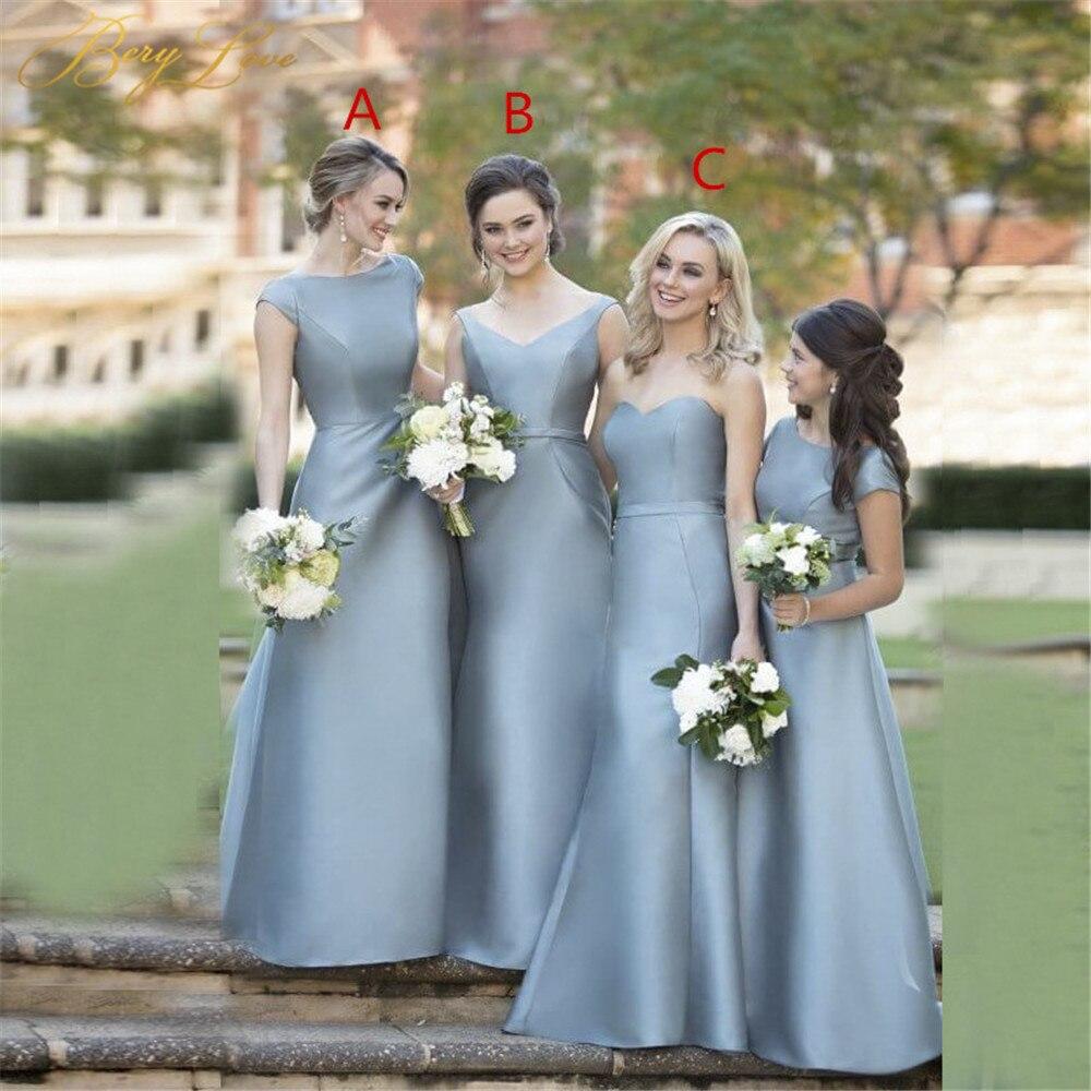 Elegant Blue Bridesmaid Dress 2019 Bridesmaid Wedding Party Dress Women Long Cap Sleeves Guest Wedding Dress Bridal Group Gowns in Bridesmaid Dresses from Weddings Events