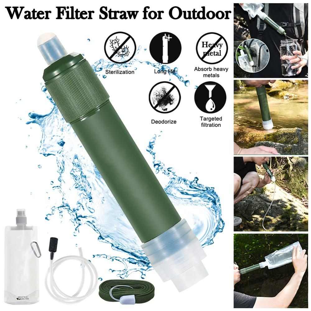 Water Filter Straw Portable Filtration System 2-Stage Water Purifier Survival Gear for Camping Hiking Climbing and Emergency