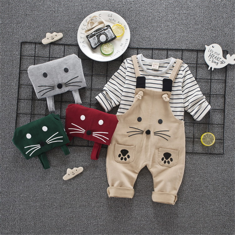 Baby Girl Boy Clothing Autumn Striped Kid Children Clothes Girls Boys T-shirt+rompers Set 40