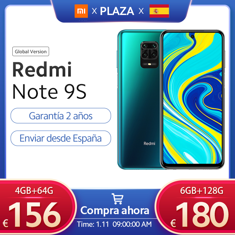 "Xiaomi Redmi Note 9 S versión Global 6GB 128GB Nota 9 S Snapdragon 720G 6,67 ""FHD DotDisplay 5020mAh 48MP AI Cámara 18W FC|Teléfonos móviles| - AliExpress"