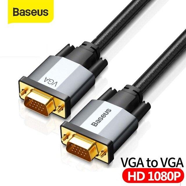 Baseus hdmiケーブルvgaにvgaアダプタケーブル1080 1080p vga 15ピンライン延長ケーブルオーディオケーブルプロジェクターpcのtv vgaワイヤーコード