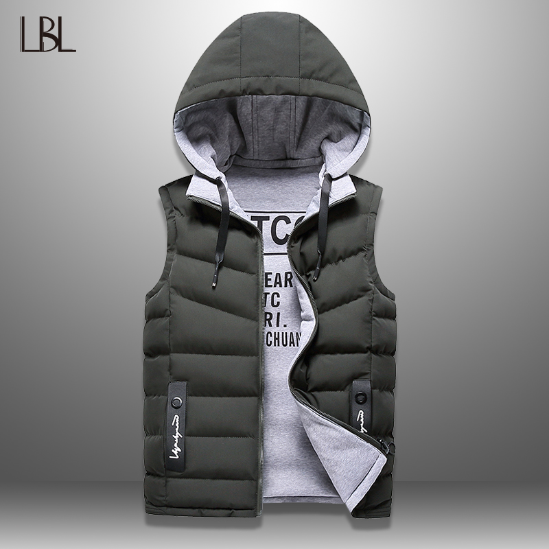 Mens Winter Vest Down Vest Men Casual Waistcoat Sleeveless Jackets Men Hooded Vest Worn On Both Sides Hat Detachable New Top 4XL