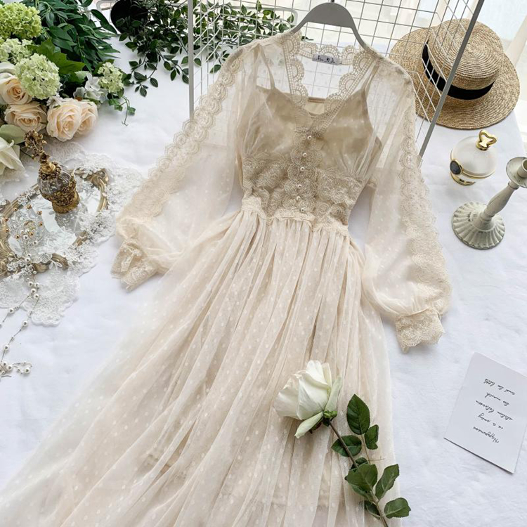 Lace Floral V-Neck Long Sleeve Polka Dot Dress 4