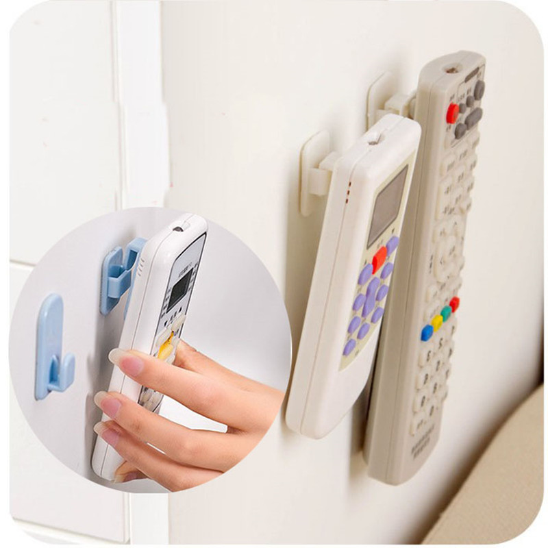 4pcs/2set Sticky Hook TV Remote Control Air Conditioner Holder Self Adhesive Plastic Storage Rack Organizer Storage Stand Holder
