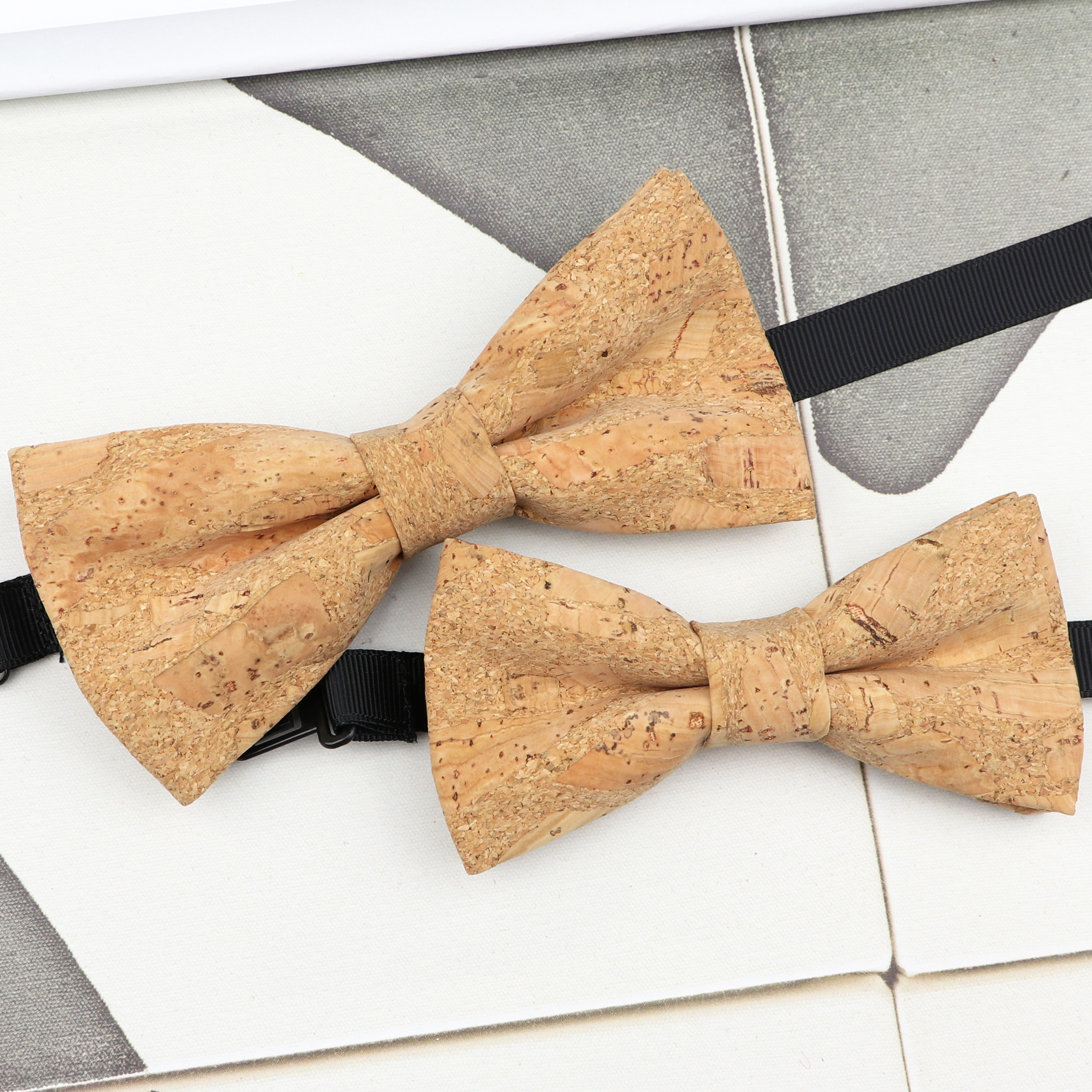 New Fashion Cork Wood Parent-Child Bow Ties Set Novelty Handmade Neckwear Butterfly For Wedding Party Man Gift Accessories Tie