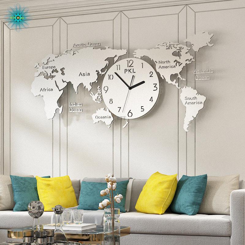 Wereldkaart Grote Wandklok Modern Design 3D Stickers Opknoping Klokken Muur Horloge Unieke Digitale Wandklokken Home Decor Silent - 2