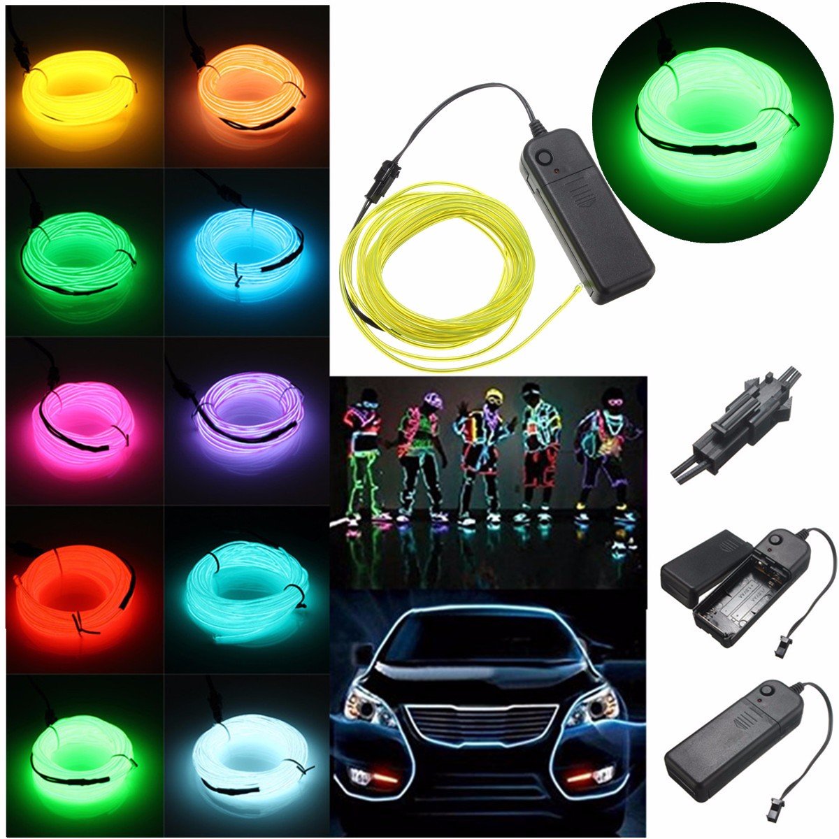 5M 3V Flexible Neon EL Wire Light Dance Party Decor Lighting Light Glow LED Light Energy-saving String Strip Rope LED Strip