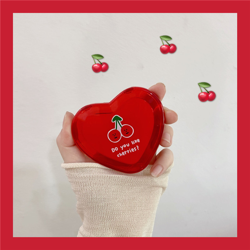 1PCs Heart Shaped Cherry Mini Makeup Mirror Compact Pocket Mirror Portable Double-Sided Folding Cosmetic Mirror Women Gifts