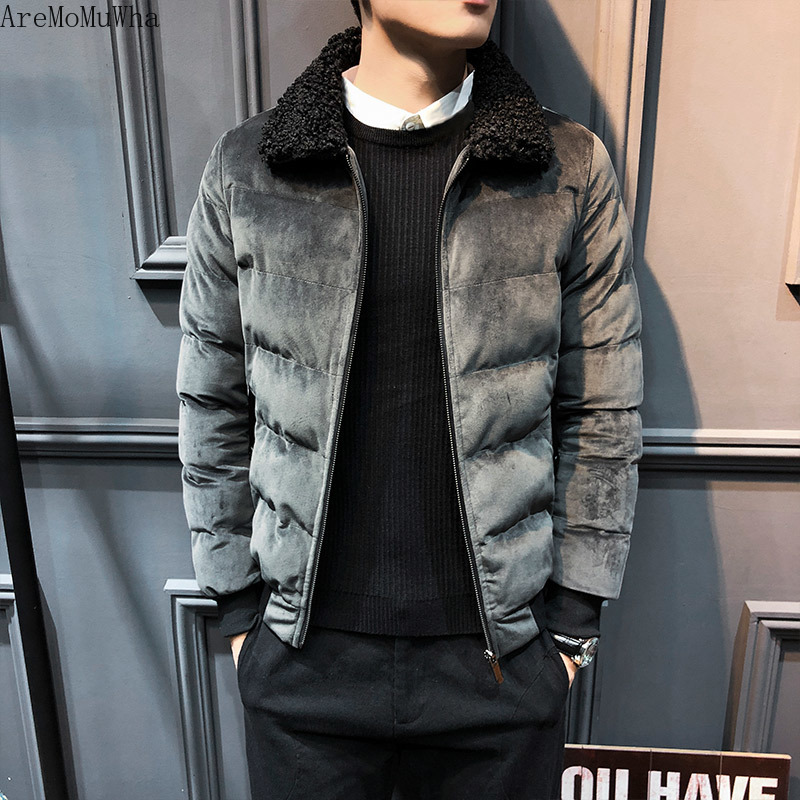 Freely Mens Stand-up Collar Thicken Plus Velvet Short Style Down Jackets