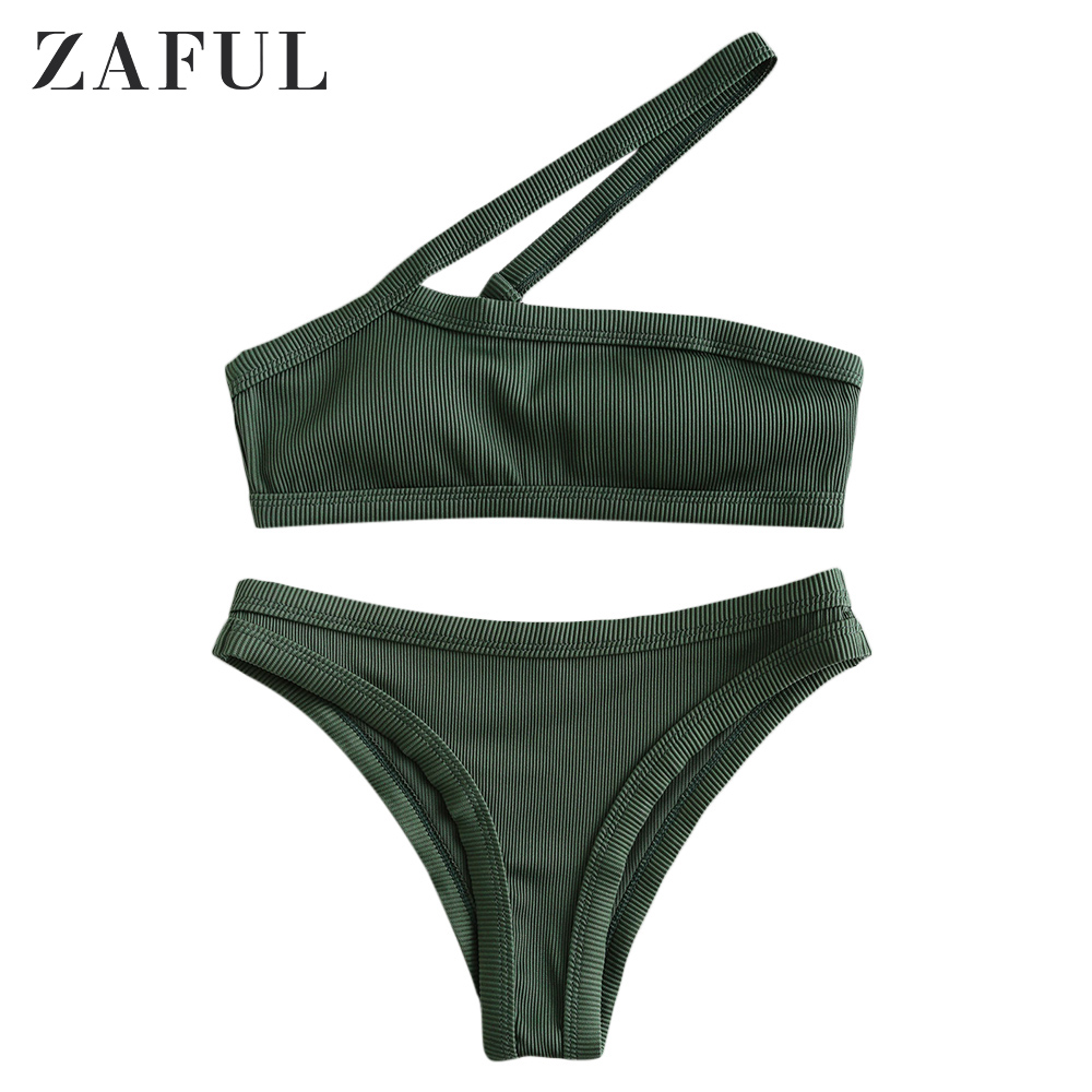ZAFUL Bikini Women Deep Green Textured Ribbed Asymmetrical One Shoulder Bikini Swimsuit Cut Out Removable Padded Swimwear