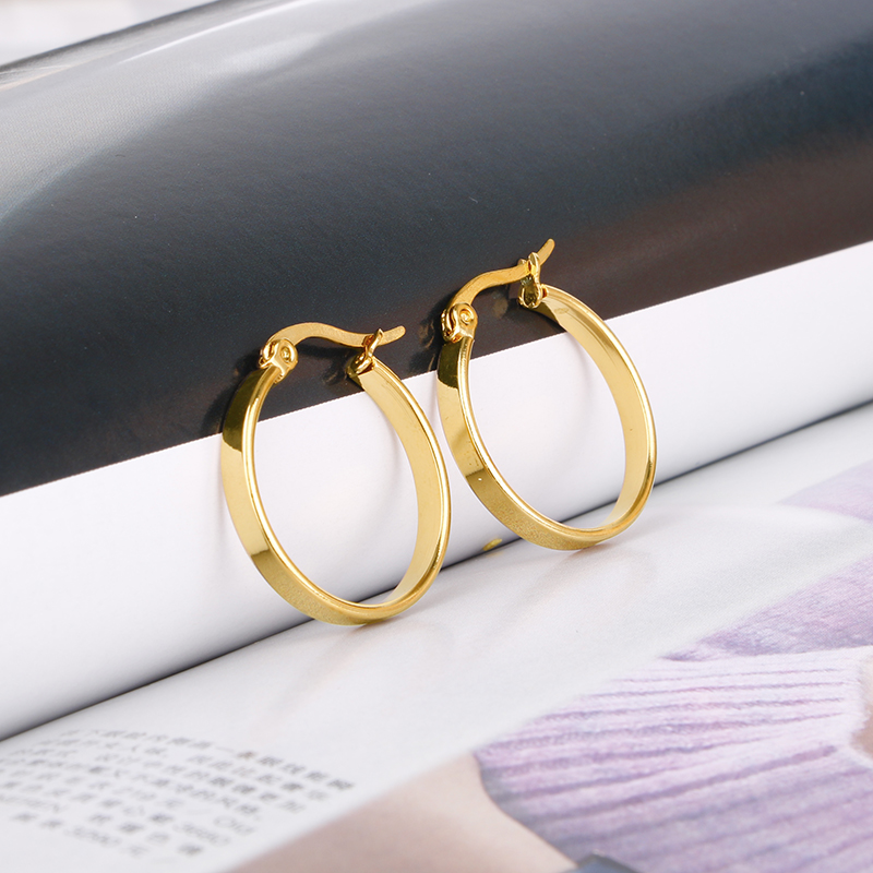 Gold Color Stainless Steel Small Hoop Earring for Women Round Nice  Wholesale Ear Accessories  Fashion  Jewelry 2021 Hot E0161