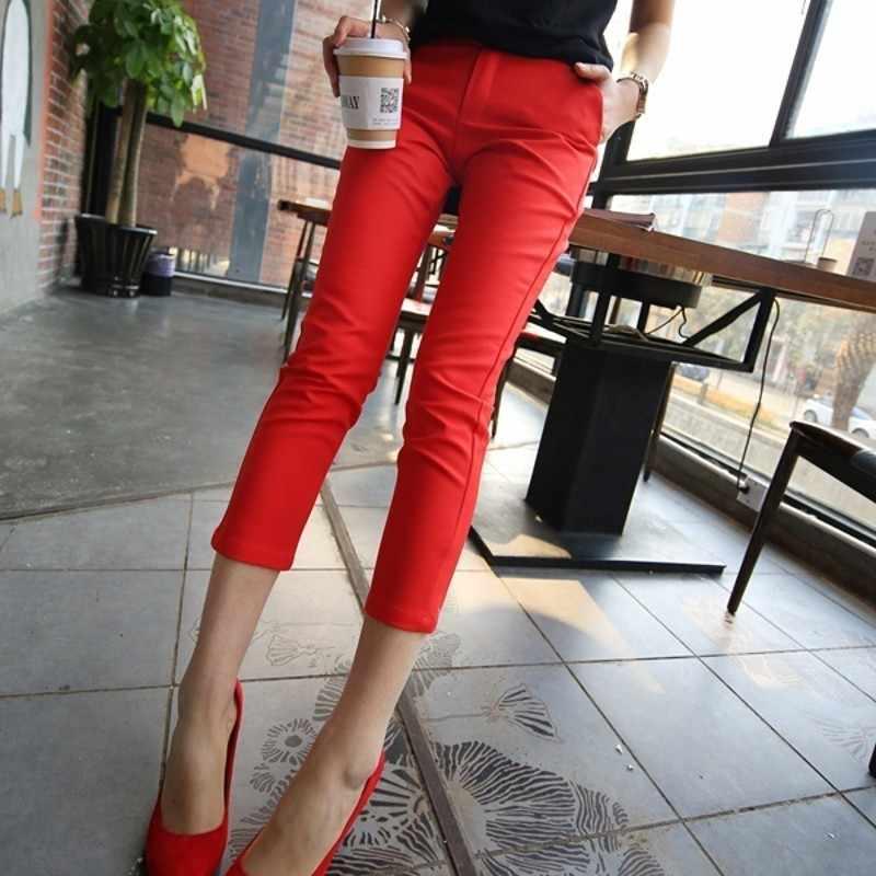 ホット販売春夏薄型レディース足首の長さの鉛筆のズボンスリムフィットストレッチコットンブレンド女性のカジュアルなスーツのズボン