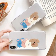 INS cute cartoon animal four dog phone case For iphone Xs MAX XR X 6 6s 7 8 plus smile phiz couple soft TPU back Cover Fundas
