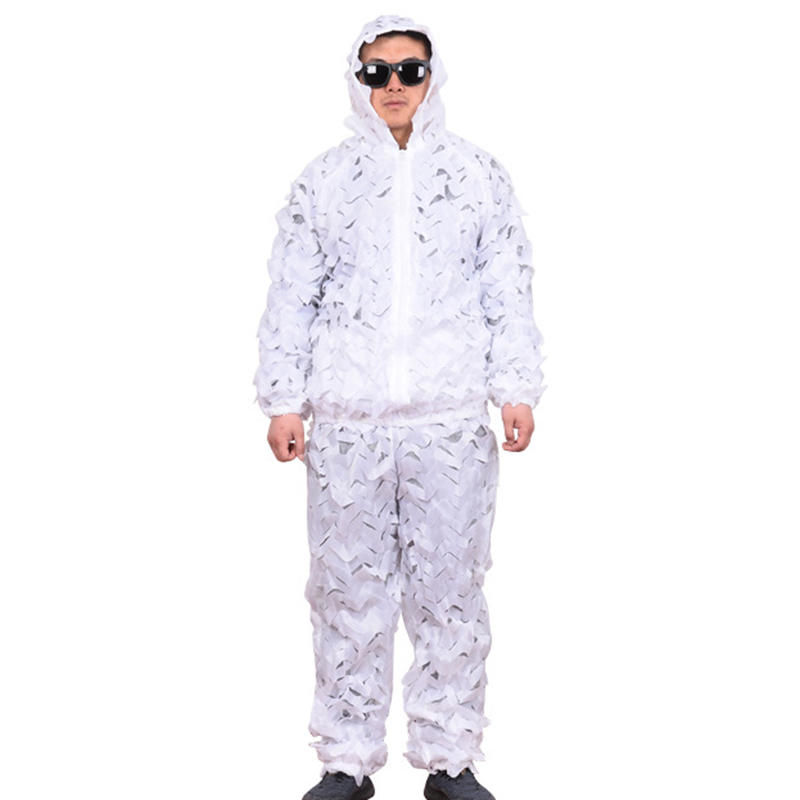 Snow White Outdoor Clothes Hunting Camping Camo Ghillie Suit High Quality