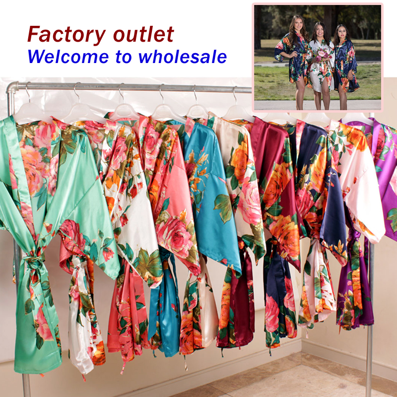Floral Satin Supper Soft Robe Wedding Bridal Party Gift Robe Lady Night Gown Sleepwear Bath Robe Bridesmaid Robes WQ79