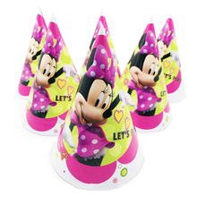 6pcs Minnie Mouse Paper Hats Caps Birthday Party Supplies For Baby Shower Kids Cartoon Decoration Festival Favors