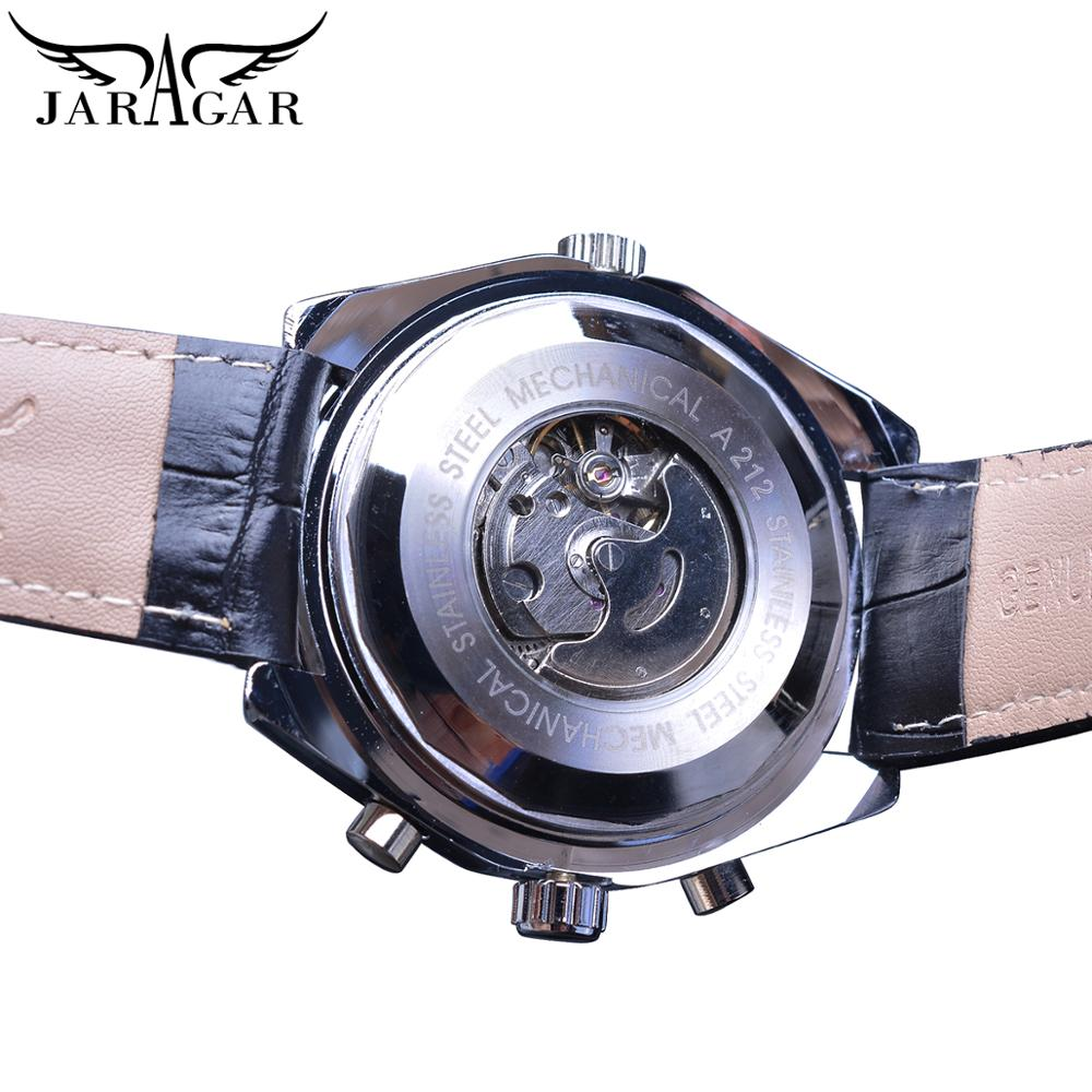 Jaragar 2020 Blue Glass Aviator Series Military True Men Sport Automatic Wrist Watch Top Brand Luxury Mechanical Male Clock Hour 4