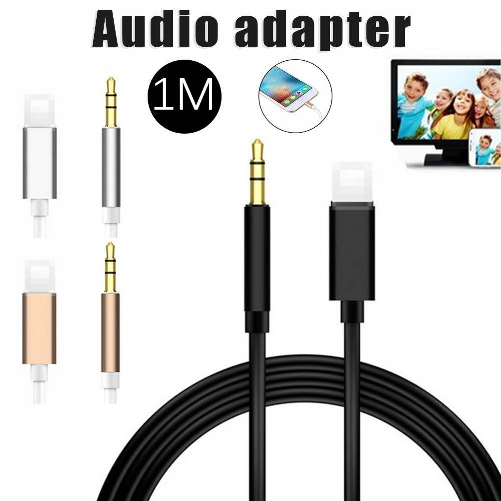 1M For IOS All Syetem Lightning To 3.5mm Audio Adapter Male AUX Headphone Cable Car Converter For Iphone 7 8 XR XS 11 Pro